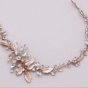 Rose Gold Swarovski wedding Vine & Earrings